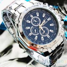 Hot Sale Luxury Fashion Men Stainless Steel Quartz Analog Hand Sport Wrist Watch Watches