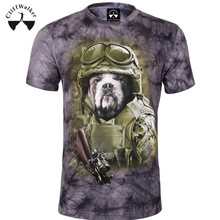 Overseas 3D Tie Dyed Fashion Grey Dog in Man Clothes Novelty 100 Cotton Tshirt Man TYA