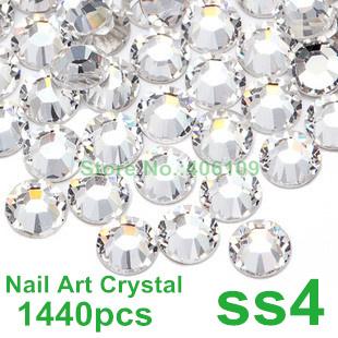 Super Shiny 1440PCS SS4 (1.5-1.6mm) Clear Glitter Non Hotfix Crystal Color 3D Nail Art Decorations Flatback Rhinestones(China (Mainland))