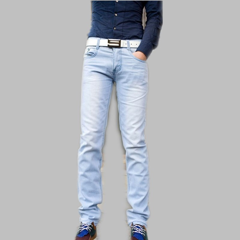 Buy fashion spring summer light blue male skinny pants slim thin ...