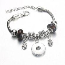 Lança vida elefante snap jóias ajustável botão snap pulseira 18mm metal snap botão encantos prata frisado pulseira para mulher(China)