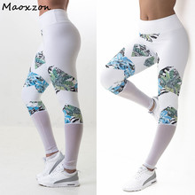 Buy Maoxzon Womens Mesh Patchwork Print Sexy Slim Fitness Workout Leggings White Elastic Bodycon Skinny Pants XL Female for $11.89 in AliExpress store
