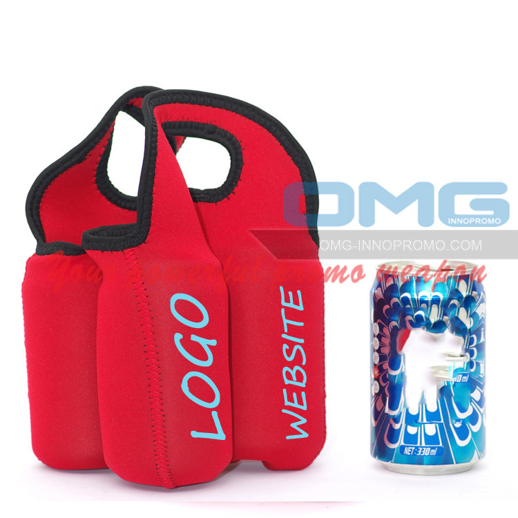 Custom Imprint REAL Neoprene 4 Pack Beverage Can Cooler Bag, Cozy, Personalized Coolie Holder Coolie Beer Bottle Carriers(China (Mainland))