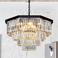 ZX American Crystal Retro Large Pendant Lamp Contracted LED Restaurant Hall Lights Octagonal Crystal for Living