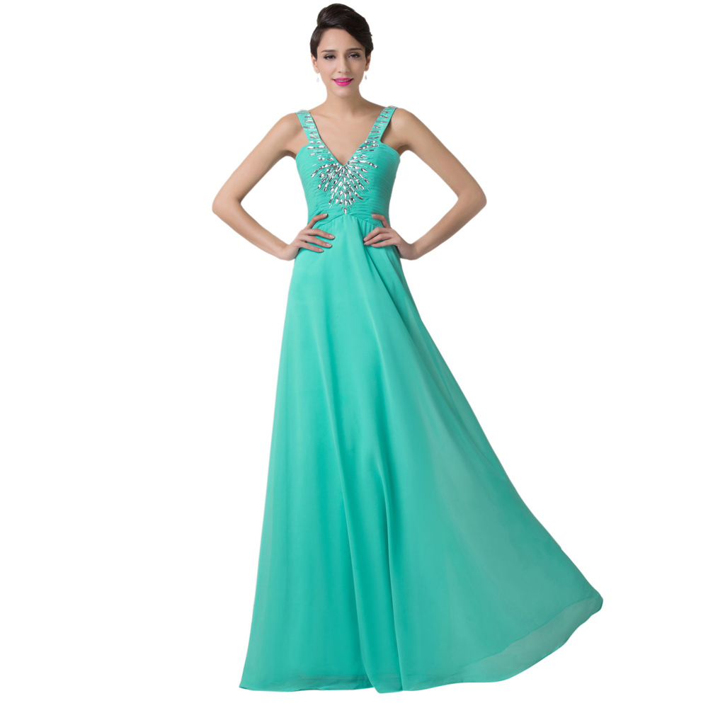 Grace Karin Turquoise Evening Dresses Long 2016 Women V Neck Chiffon Beaded Prom Party Ball Formal Gowns 6244 - Dress Co. Limited store