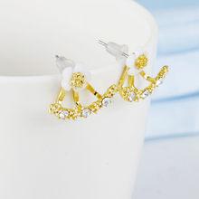 Hoa pha lê Bông Tai giọt Dành Cho Nữ trang Sức thời Trang 2 Mặt Vàng Bông tai Bạc Tặng cho Đảng người bạn thân nhất A55(China)