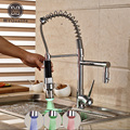 Factory Direct Sale LED Light Kitchen Faucet Single Lever Deck Mounted Spring Mixer Tap with 2