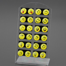 Wholesale Lot 12pairs Round Yellow Happy Face Emoji Earrings Cute Funny Smiley Stud Earrings Christmas Gift ME56(China (Mainland))