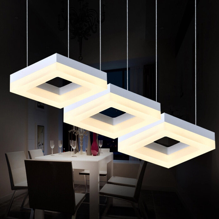 27W White Acrylic Drop Lamp With 3 Lights Modern For
