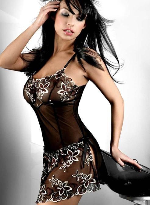 hot summer women Sexy Night Dress 1285 BABYDOLL lace embroidery camisoles transparent black underwear sets plus size XXXL