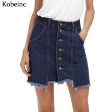 Buy Asymmetrical Denim Skirts Women Single-breasted Pockets Faldas Fashion Tassel Mini Skirt 2017 Plus Size Saias New Jupe for $10.39 in AliExpress store