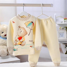 2016new winter clothes girls baby kids children clothing sets suits pajamas for boys 2 piece sleepwear home fashion Little bear(China (Mainland))