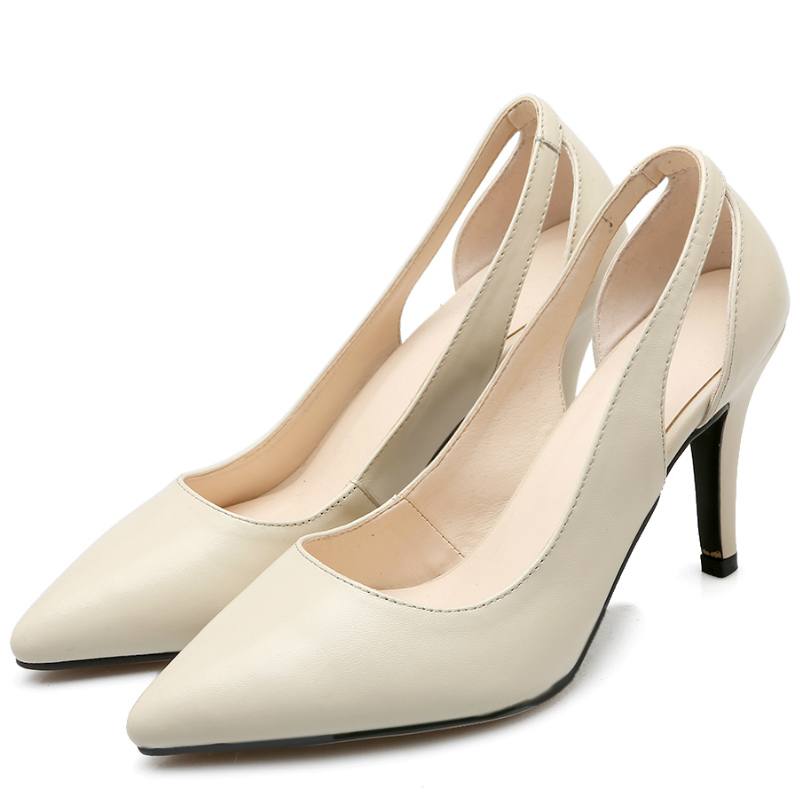 Classic design full grain genuine leather thin high heel single shoes Sexy women pumps 2016 black beige hollow out work shoes(China (Mainland))