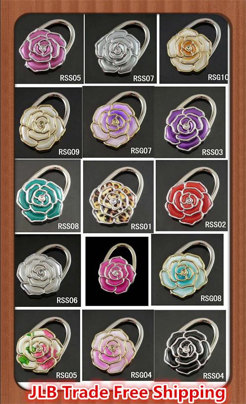 JLB 15 Colors Pick Rose Flower Style Popular element Fashion Handmade Foldable holder handbag bag hanger free shipping(China (Mainland))