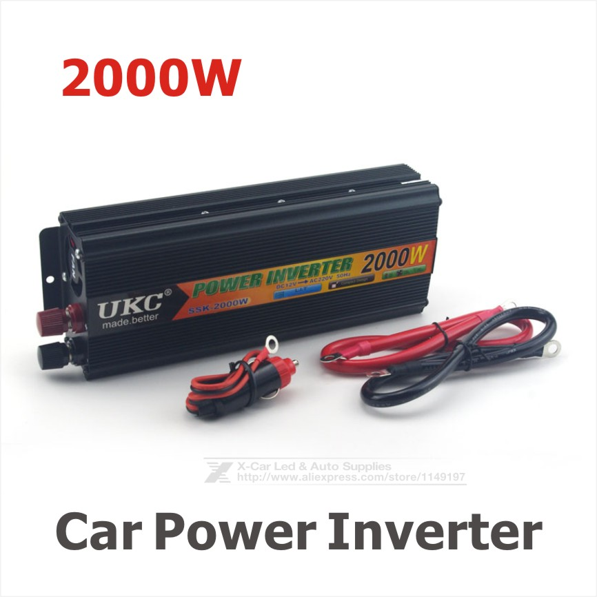 2000W Car Modified Sine Wave Power Inverter Converter Charger Car DC 12V to AC 220v Converter + USB With Car Cigarette Lighter(China (Mainland))