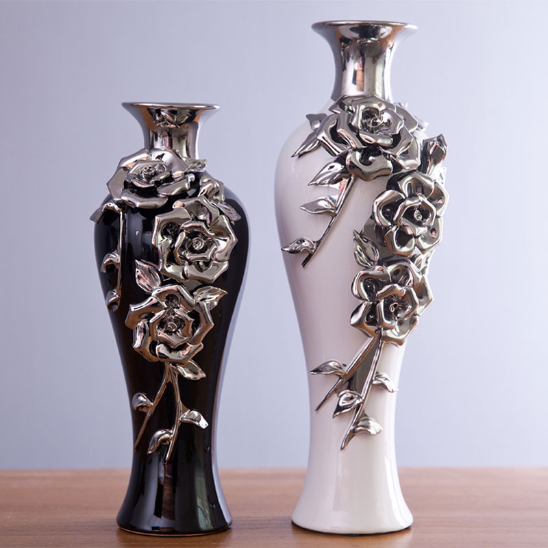 Modern fashion vase ceramic home decoration accessories flower silver rose bottle black and - Great decorative flower vase designs ...