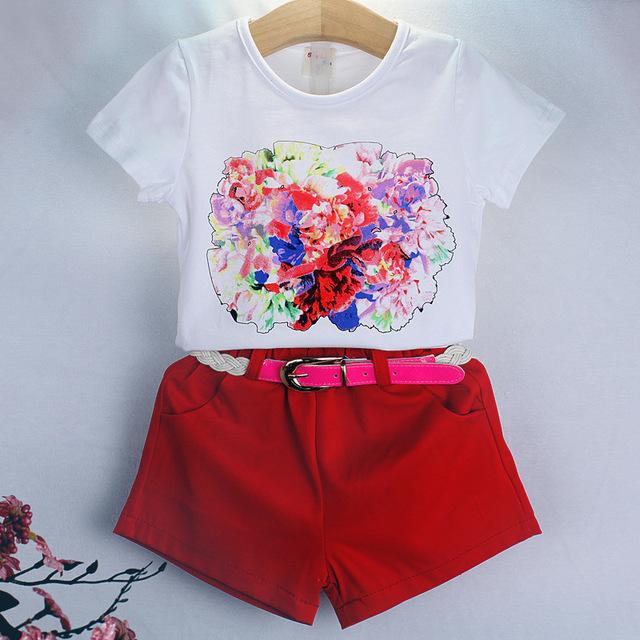2016 детская одежда тенденция красные цветы с короткими рукавами футболка шорты set с поясом