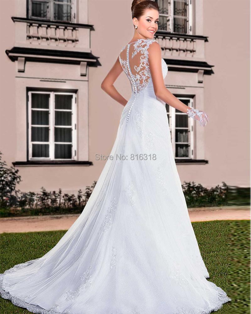 Buy vestido de noiva lace mermaid wedding for See through wedding dresses