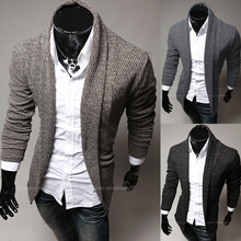 2015 New Brand Men's Sweaters Open Stitch Slim Fit Cardigan Men Casual Clothing Cardigan 3 Color Size:M-XXL Free Shipping(China (Mainland))