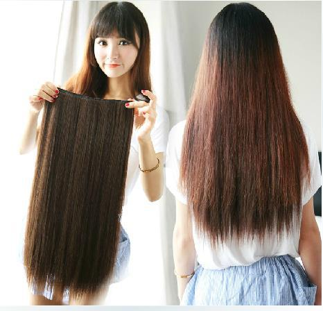 Fashion Long Women Hair Extensions Straight Synthetic Clip Brown L04022(China (Mainland))