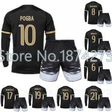 2015 16 high quality kits 3rd away black POGBA MANDZUKIC long soccer jersey kit 2016 MARCHISIO MORATA DYBALA footbal jersey set(China (Mainland))