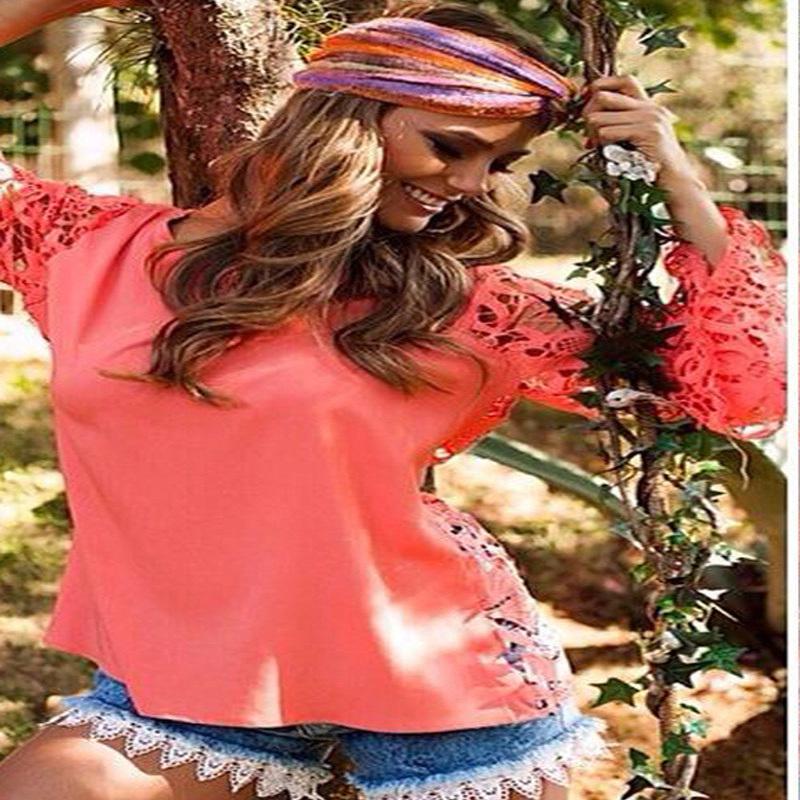 Hot 2014 autumn new Slim casual long-sleeved red chiffon blouse back openwork crochet woman tops lace stitching - Fashionlaceshop store