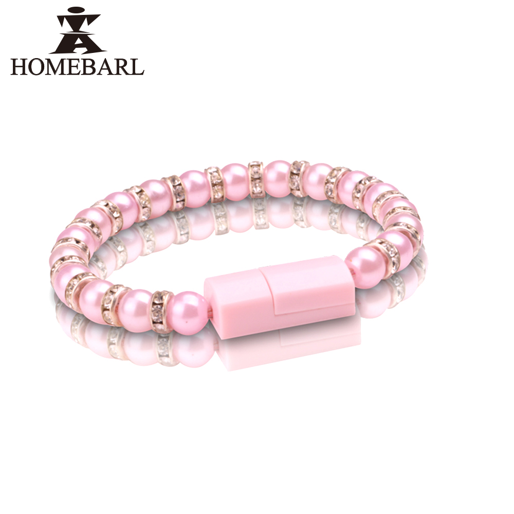 HOMEBARL New Diamond Wearable Wristband Wrist Band Bead USB Charger Cable Jewelry For Samsung iphone SE 5S 6S 7 Plus Android 2B2(China (Mainland))