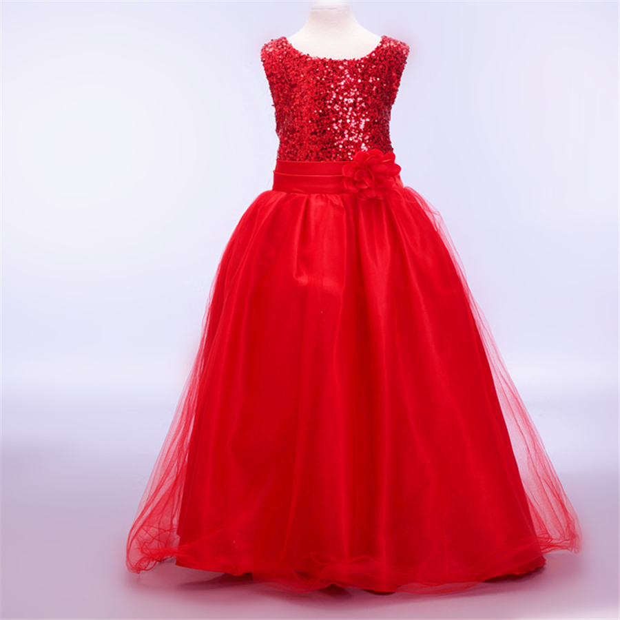 fashion girls dress princess costume girls wedding party ...