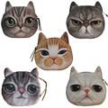 2016 High Quality Oval Cat Face Zipper Purses Women Coin Wallets Female Makeup Buggy Bag Kids