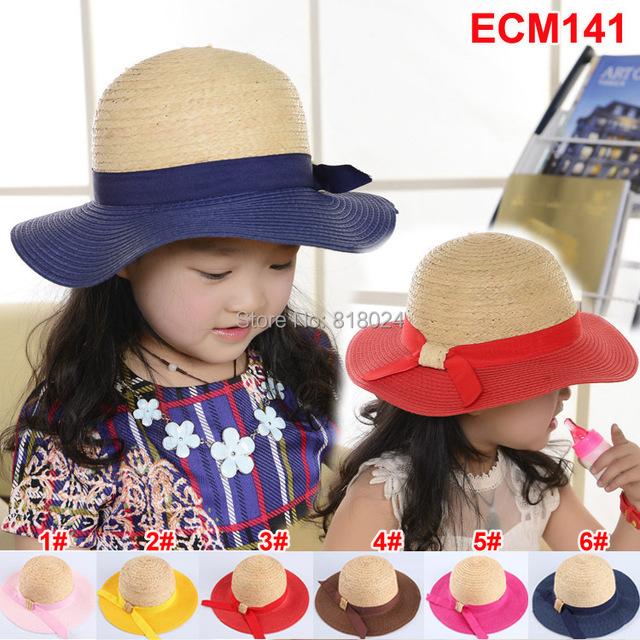 5 шт. / lot рафия девочки-младенцы лето шляпы большой краев дети флоппи-бей солнцезащитные головные уборы шапки лето пляж шляпа