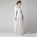 Vintage Full Lace A Line Wedding Dresses with Cloak Cape Illusion Neck Button Back Boho 2017