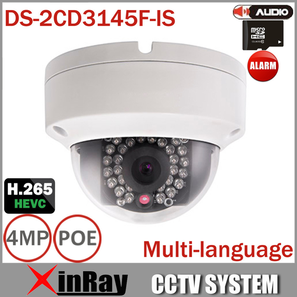DS-2CD3145F-IS Full HD 4MP IP Camera Support H.265 HEVC with TF Card Slot Mini Dome POE IP CCTV Camera With Multi-language(China (Mainland))