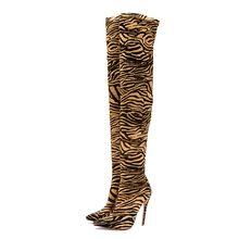ARQA Tiger Skin Patroon Over-Knie vrouwen Laarzen Herfst en Winter Warme Korte Pluche Hoge Hak Wees Vrouwelijke lange Laarzen(China)