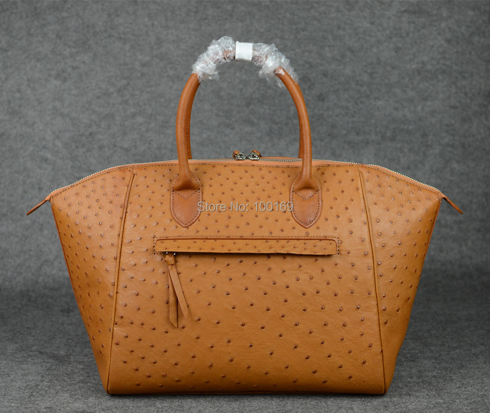Ostrich leather bags_Genuine ostrich leather tote_exotic handbags_Ostrich handbag_Tan brown(China (Mainland))