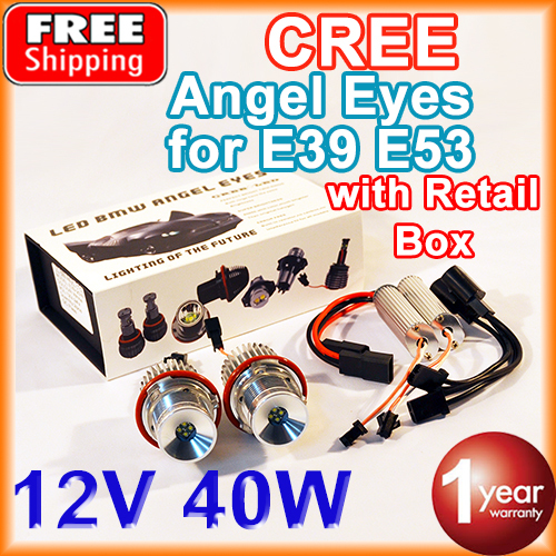 1 Set 2*20W 40W CREE Chip LED Marker Angel Eyes Retail Box 7000K XENON White for E39 E53 E60 E61 E63 E64 E65 E87(China (Mainland))