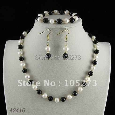Stunning!jewelry set AA8-9mm white Genuine freshwater pearl &amp; agate necklace bracelet earring Hot sale free shipping A2416<br><br>Aliexpress