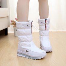 Phụ nữ Ủng nền tảng mùa đông giày dày sang trọng chống trượt chống thấm nước giày bốt thời trang nữ mùa đông giày lông ấm áp botas mujer(China)