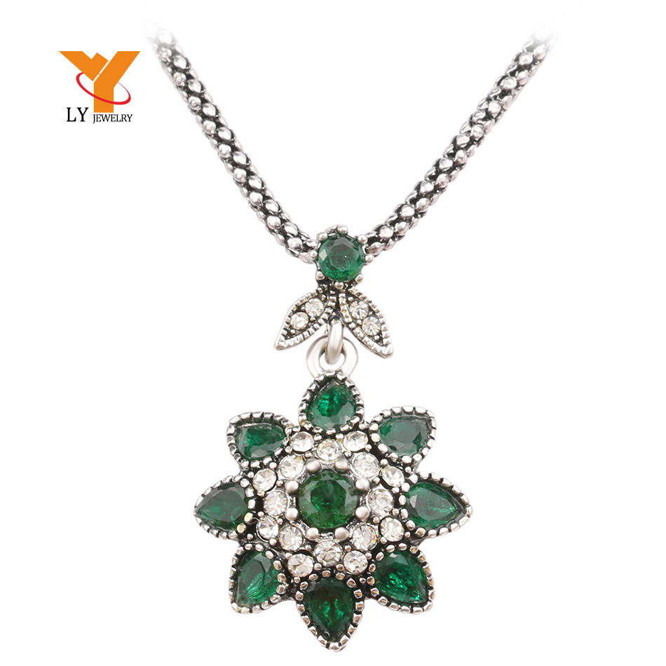 Retro pedants Necklaces 2016 Ladies Fashion Antique Silver Jewelry Inlaid Resin Womens Jewellery(China (Mainland))