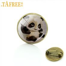 TAFREE Brand Wild Animal Brooch Mom's Love Family affection Badge panda bear Cheetah elephant art picture Pins jewelry A317(China)