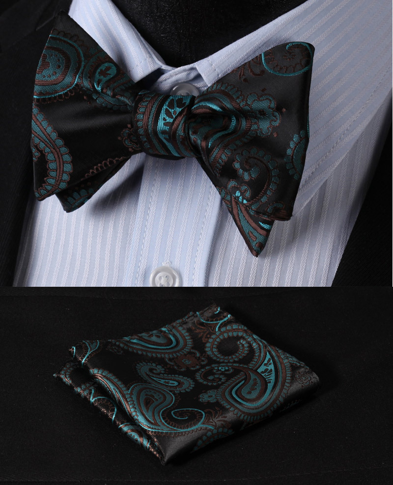 BF4006G Green Black Paisley 100%Silk Jacquard Woven Men Butterfly Self Bow Tie BowTie Pocket Square Handkerchief Hanky Suit Set - HISDERN store