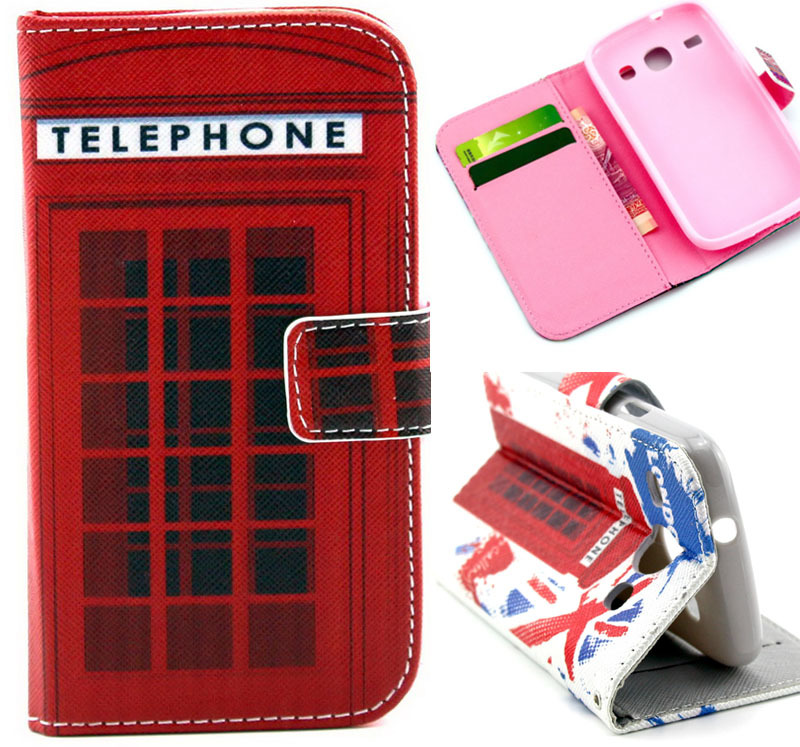 1 pc 2 Styles Vintage London telephone Luxury Wallet & Magnetic Flip Case Stand For Samsung Galaxy Core i8262 i8260 Card Holder(China (Mainland))