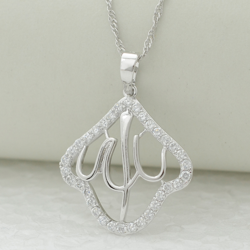 High quality zircon & silver plating allah necklace pendant,silver plated fashion islam moslem jewelry arabic middle east women(China (Mainland))