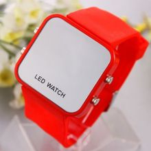 Classical Lady Men Mirror Face LED Date Sport Rubber Digital Wrist Watch
