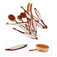 10 Pcs Tooth Brush Oval Shape Makeup Brush Set Professional Makeup Foundation Powder Brush Tools Kit Pink Gold(China (Mainland))