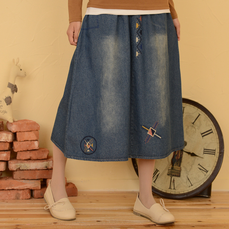 2015 new mid calf denim skirts korean mori all