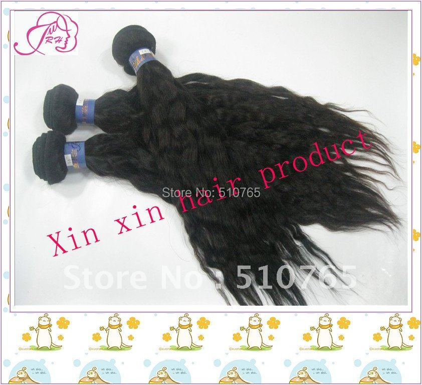 Brazilian virgin hair natural wave human weaves 14-28inch , color 1b# DHL - Xin products factory store