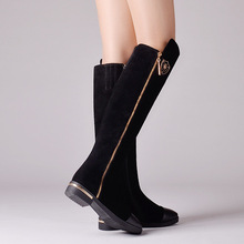 2015 new arrival winter genuine leather over the knee high boots flat heel shoes Knights round fur inside motorcycle boots @(China (Mainland))