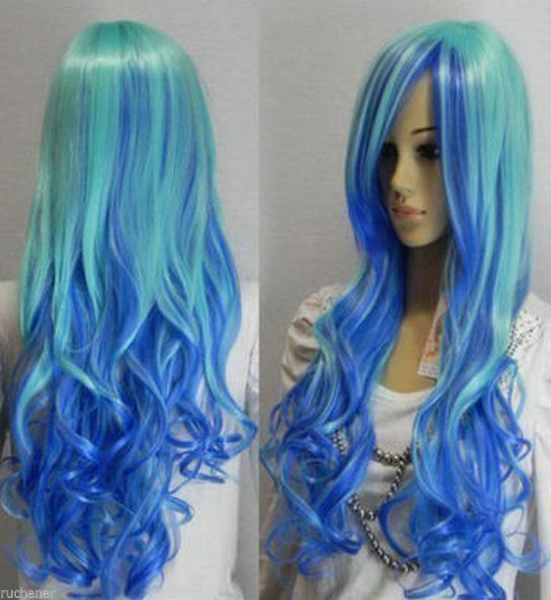 Free shipping Hot sale >>>Cosplay long blue mixed curly Hair women human manufacturing wig AAA(China (Mainland))