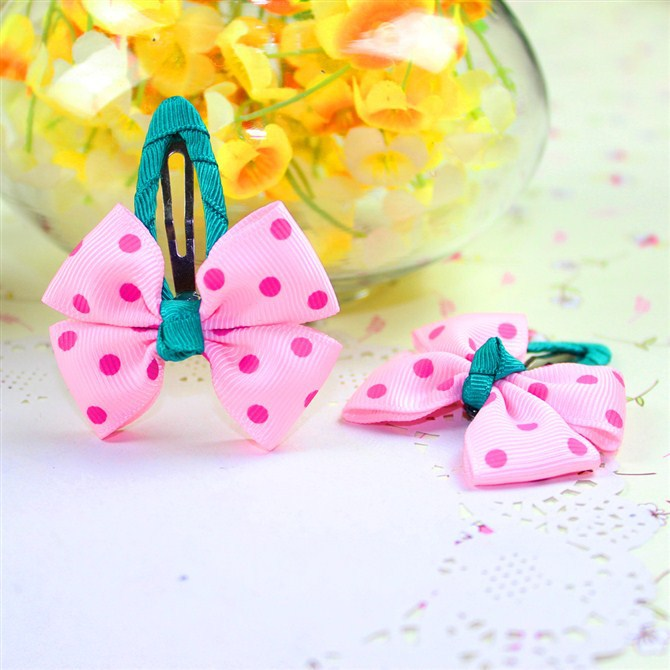 green pink dot children kids baby hair accessories clip hairpins barrettes headwear flower bow Retail Boutique wholesale JB-30(China (Mainland))