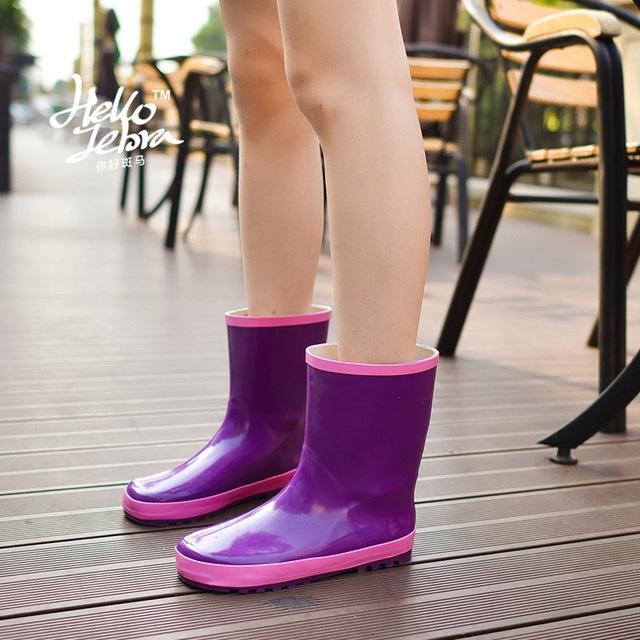2016 Новый Женщины Дождь Сапоги Резиновая Подошва женские Короткие Непромокаемую Обувь Warmming Лоскутное Цвет Дизайн Бесплатная Доставка Плюс Размер 40